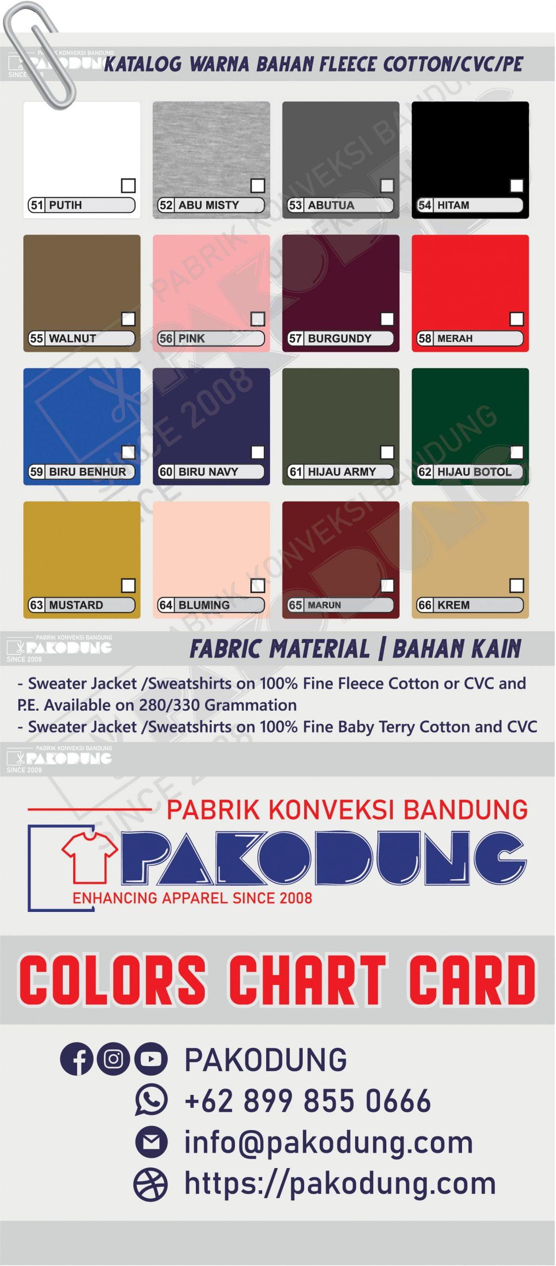 katalog warna bahan fleece katun