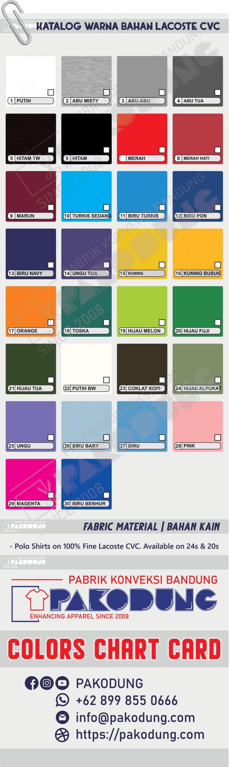 katalog warna bahan lacoste pakodung