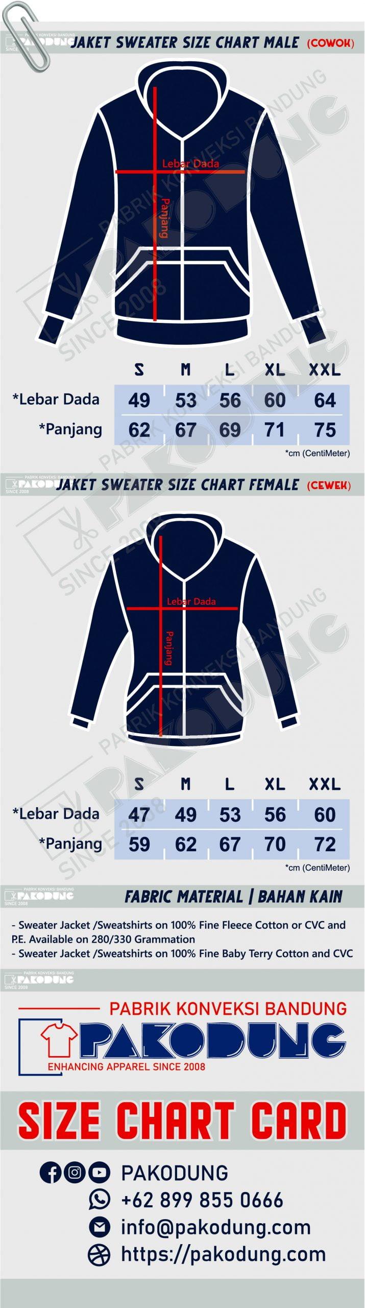 sizechart jaket sweater pakodung