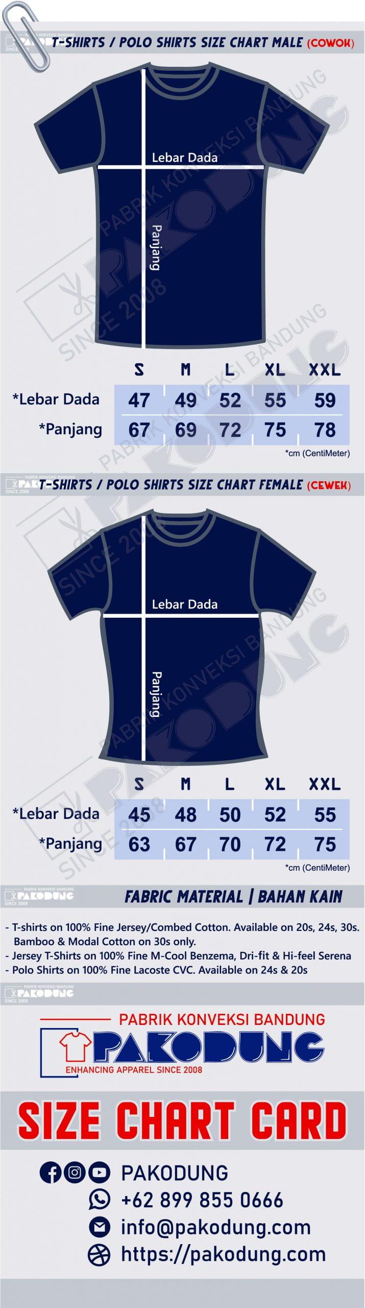 size chart kaos tshirts PABRIK KONVEKSI BANDUNG pakodung