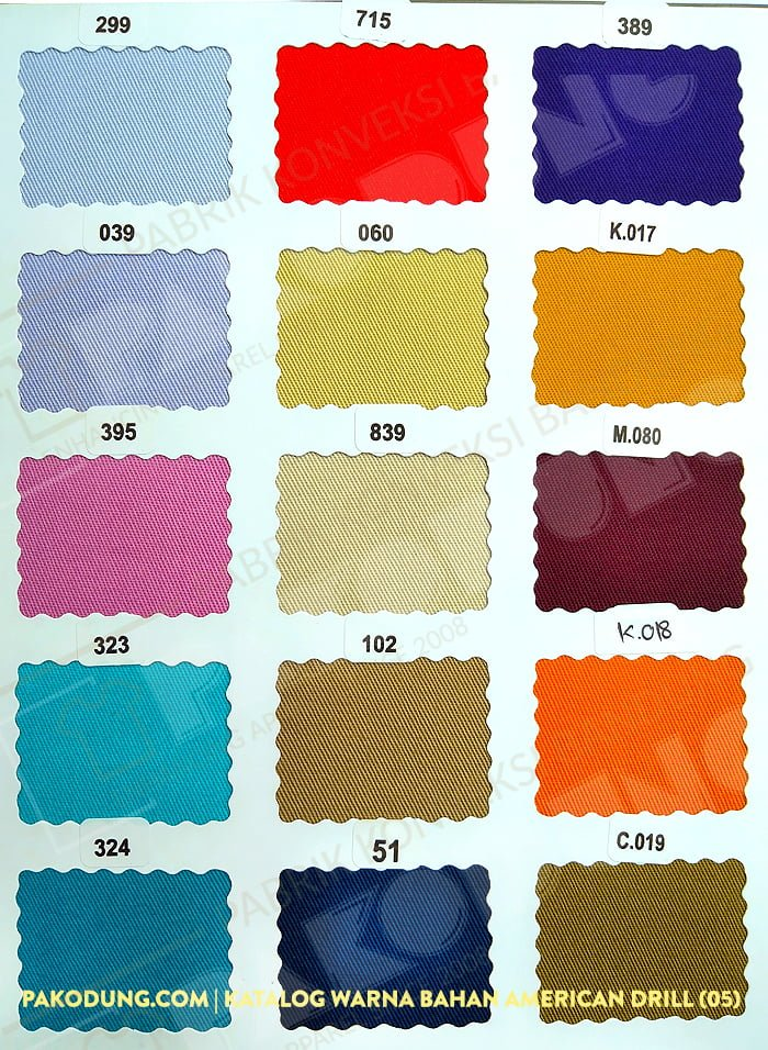 katalog warna bahan amaerican drill 5