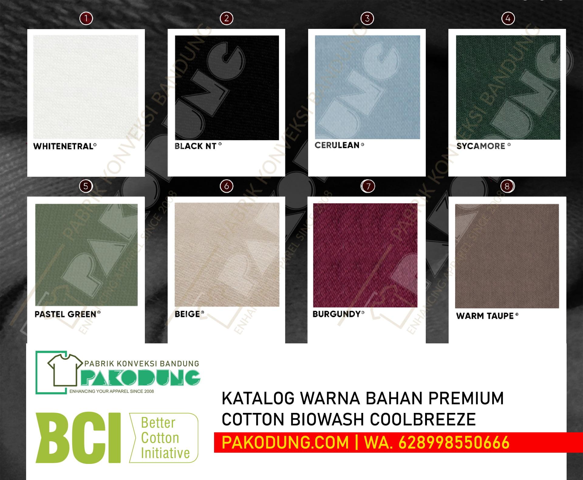 katalog warna bahan katun biowash coolbreeze