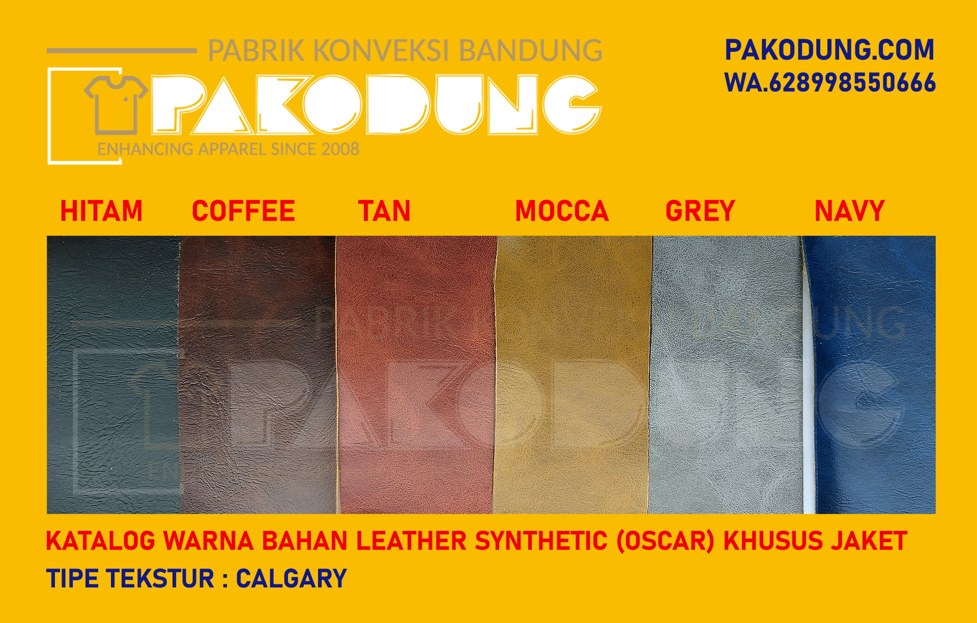 katalog warna bahan oscar kulit sintetis calgary