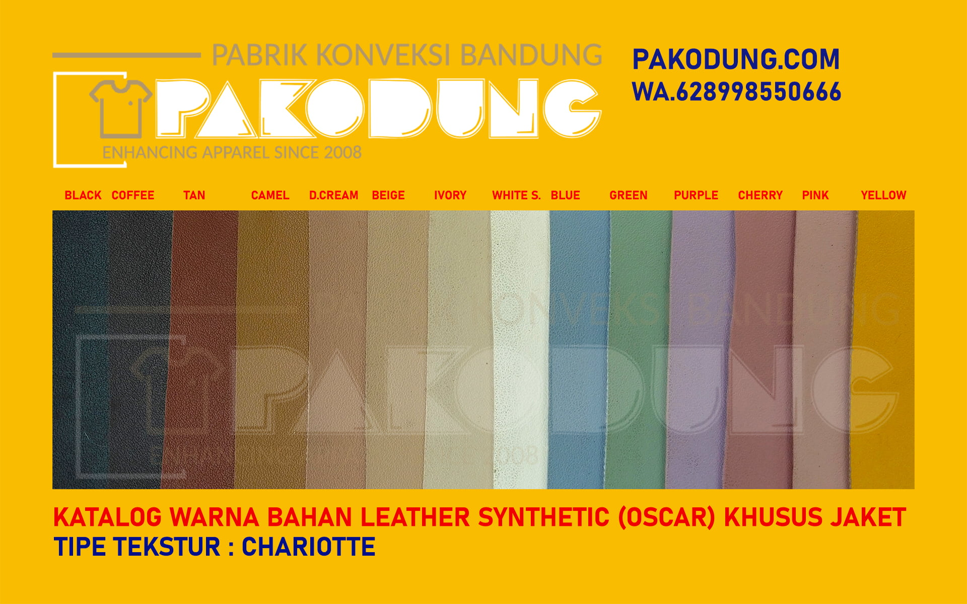 katalog warna bahan oscar kulit sintetis chariotte