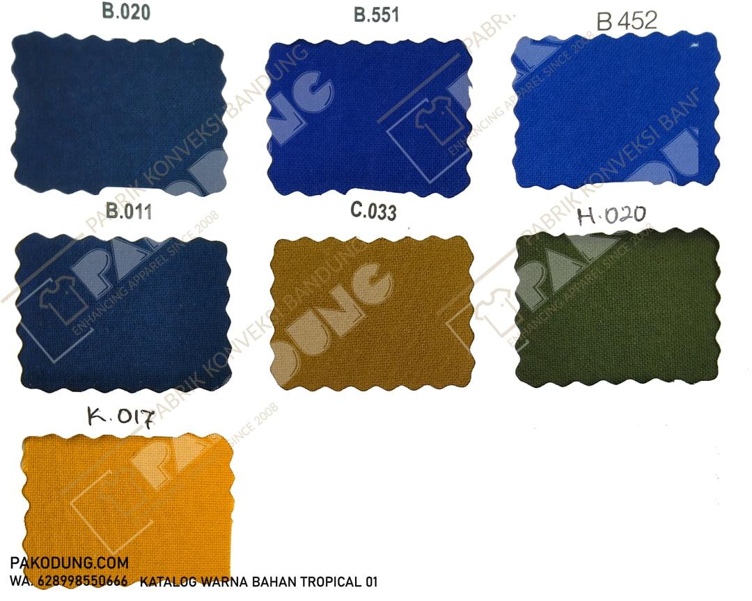 katalog warna bahan tropical