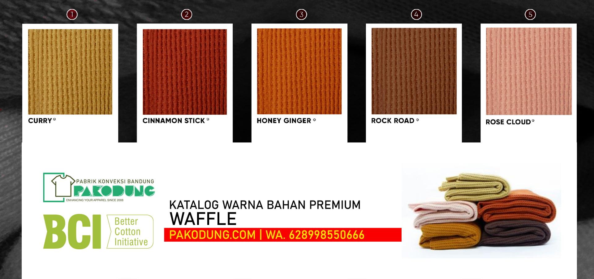 katalog warna bahan kain waffle