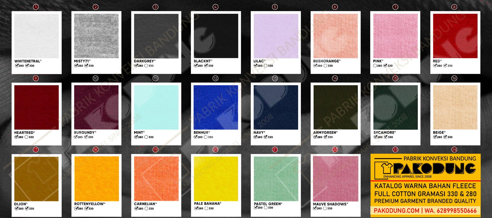 katalog warna bahan fleece full cotton premium gramasi 330 dan 280